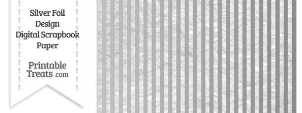 Silver Foil Stripes Digital Scrapbook Paper