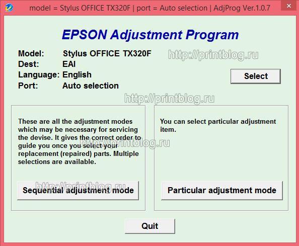 Adjustment program для принтеров Epson TX320F, BX305F, TX325F, WorkForce 325, WorkForce 323, ME OFFICE 620F