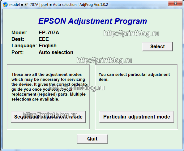 Adjustment program Epson EP-707A