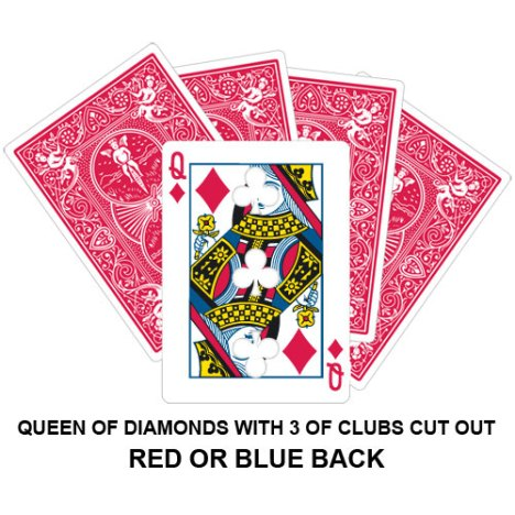 Queen Of Diamonds With Three Of Clubs Cut Out Gaff Card