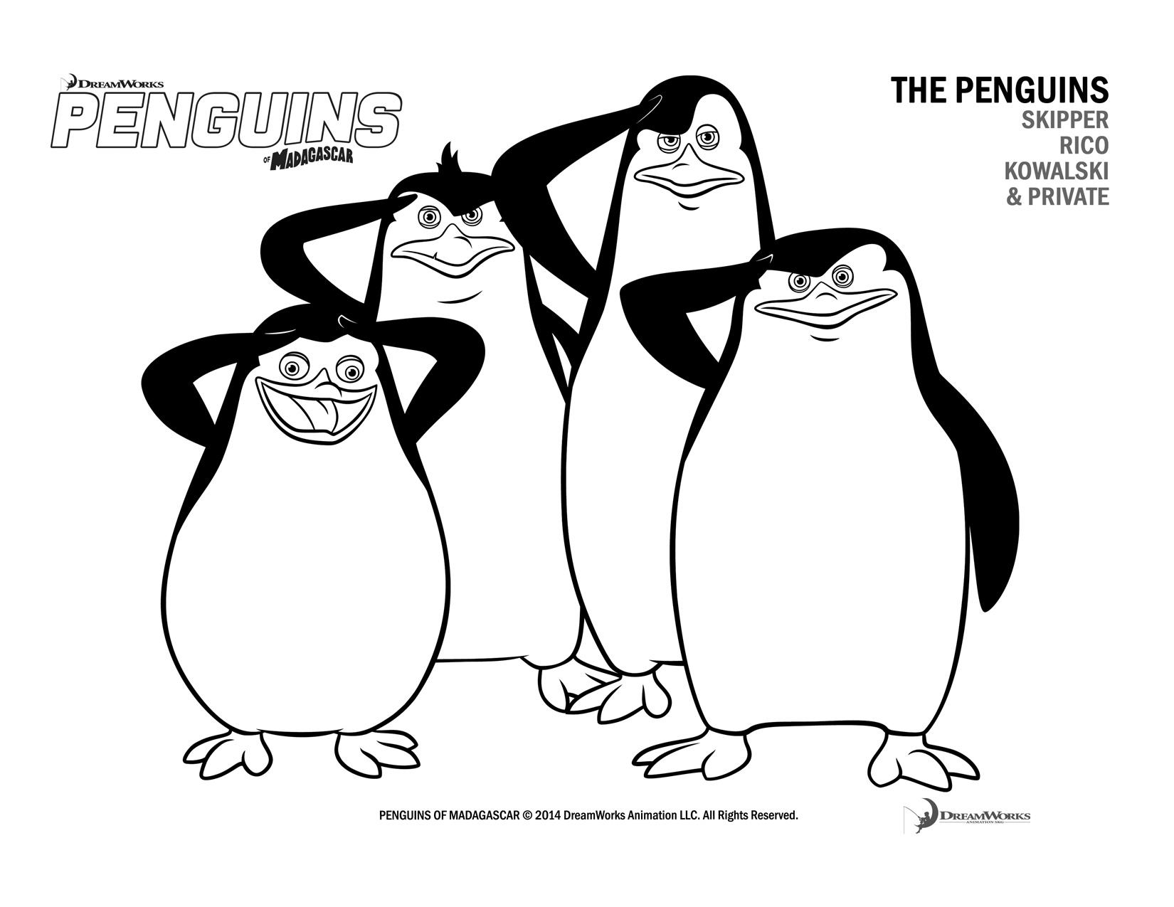 penguins of madagascar coloring page to print printable coloring pages