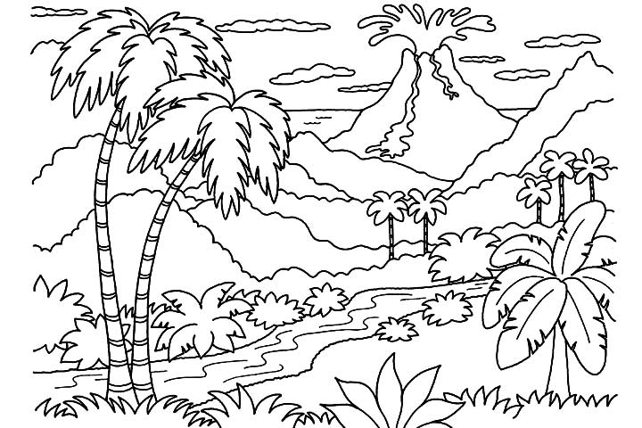 volcano coloring page to print printable coloring pages