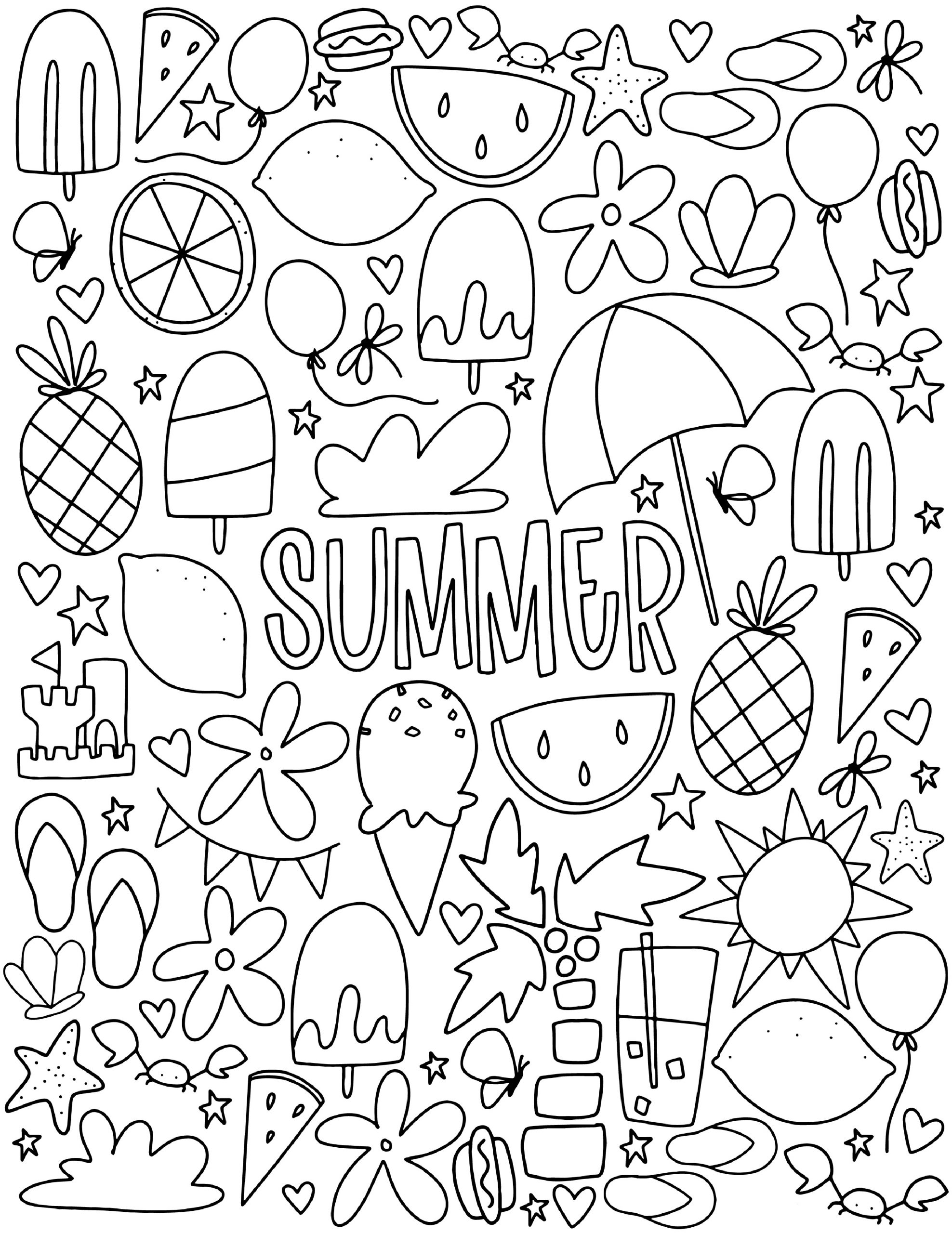 Hard To Color Detailed Summer Coloring Pages For Adults