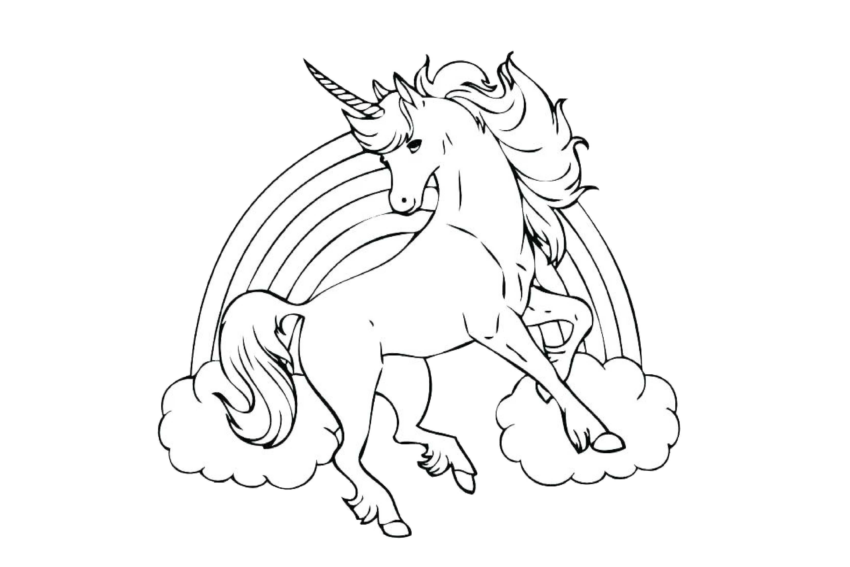Rainbow Unicorn Coloring Pages Flying - Print Color Craft | free printable coloring pages unicorn rainbow