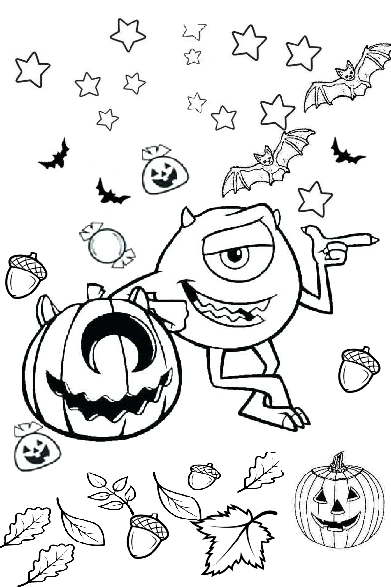 mike wazowski monsters inc halloween scary boo coloring