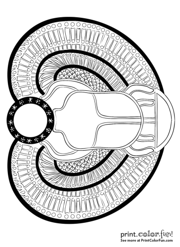 Ancient Egyptian Scarab Beetle Coloring Page Print Color Fun