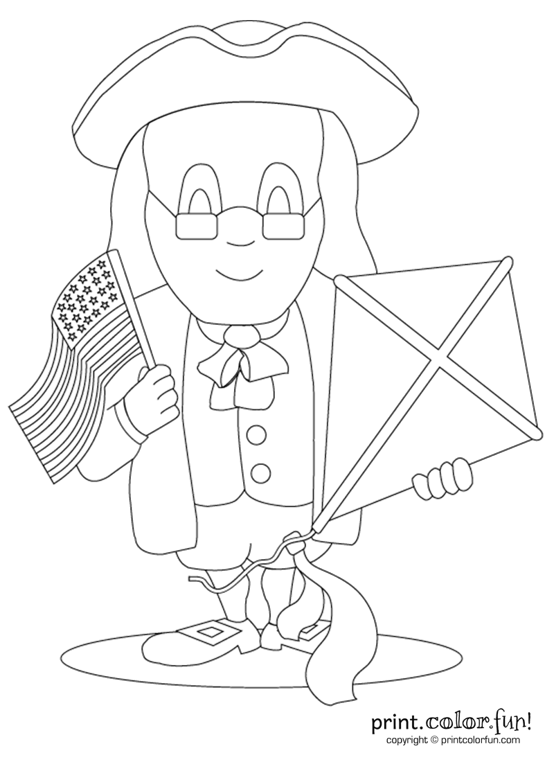 Benjamin Franklin with kite and flag coloring page Print Color Fun