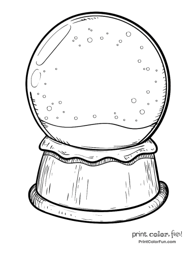 snow globes coloring pages Blank snow globe coloring page   Print. Color. Fun! snow globes coloring pages