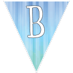 Blue-green striped party decoration flags with white letters 2