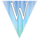 Blue-green striped party decoration flags with white letters 11