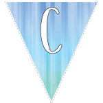 Blue-green striped party decoration flags with white letters 3
