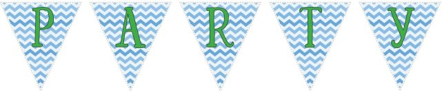 Blue zig-zag party decoration flag set with green letters