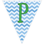 Blue zig-zag party decoration flags with green letters 128