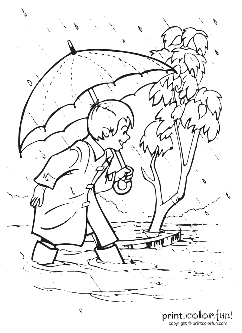 Boy Playing Outside In The Rain Coloring Page Print