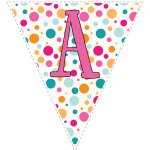 Bright polka dot decoration flags with pink letters