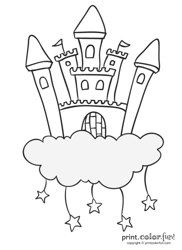 Castle In The Clouds With Stars Coloring Page Print Color Fun