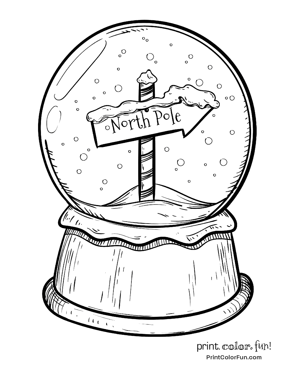 christmas snow globes coloring pages - photo#14