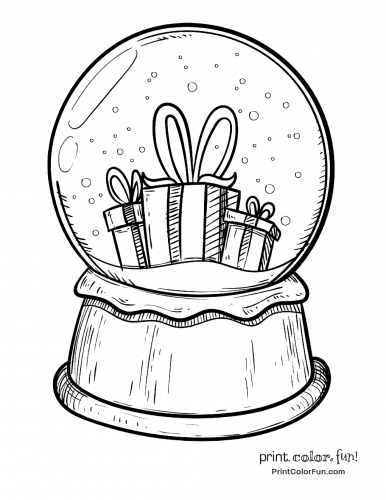 snow globe  christmas presents coloring page  print
