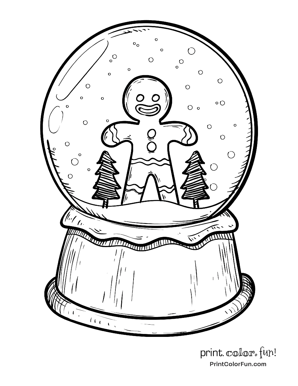 Christmas snow globe with gingerbread man coloring page