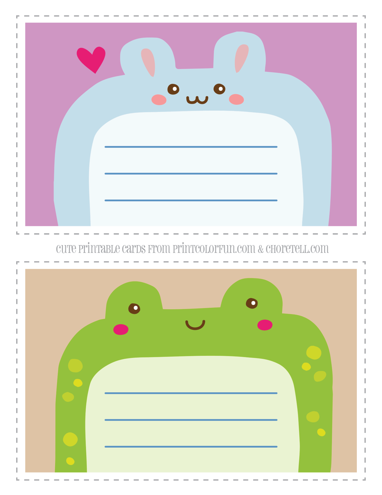 Cute printable animal notecards