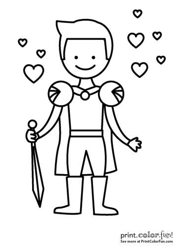 handsome young prince charming coloring page print color fun
