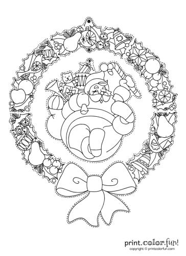 Hanging-Christmas-wreath-with-Santa