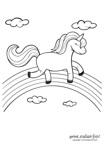 unicorn rainbow coloring pages Happy unicorn over the rainbow coloring page   Print. Color. Fun! unicorn rainbow coloring pages