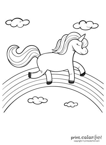 rainbow unicorn coloring pages Happy unicorn over the rainbow coloring page   Print. Color. Fun! rainbow unicorn coloring pages