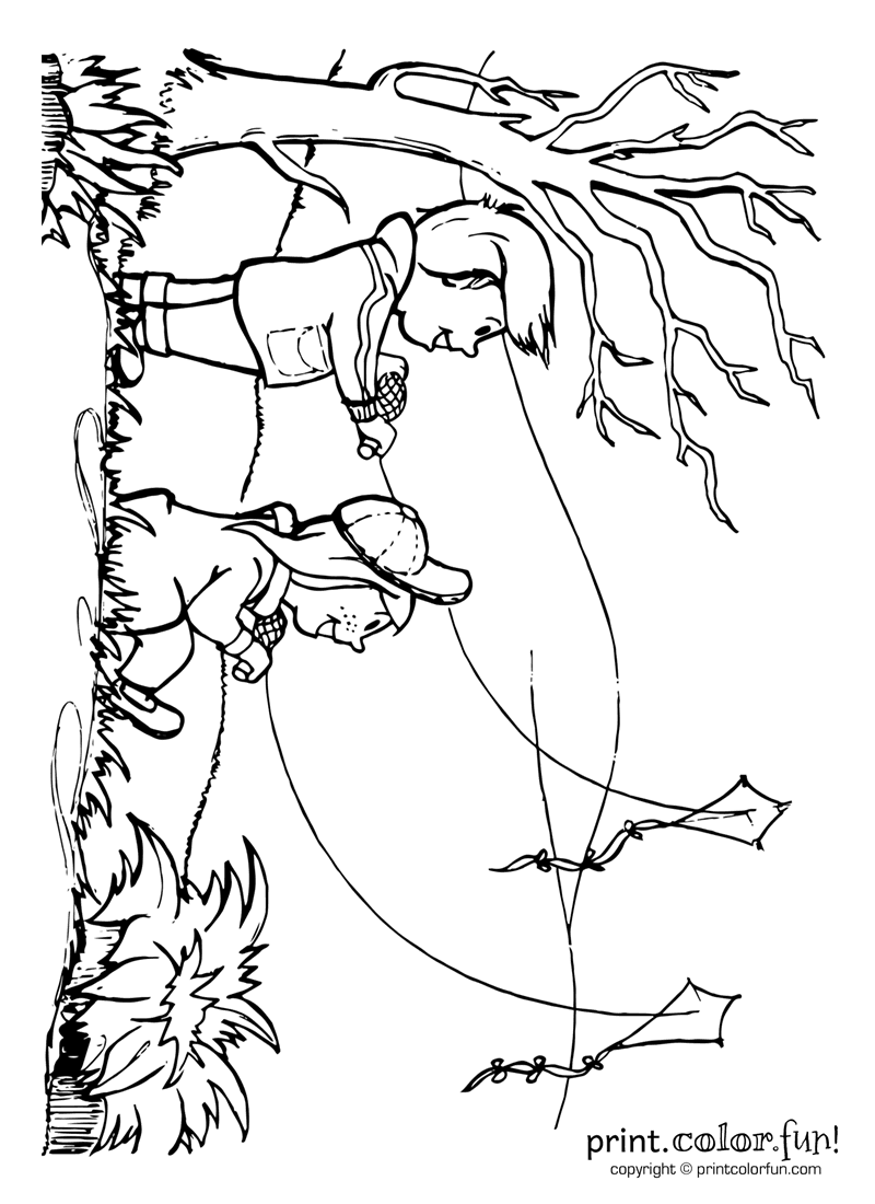 Let's go fly a kite! coloring page - Print. Color. Fun!