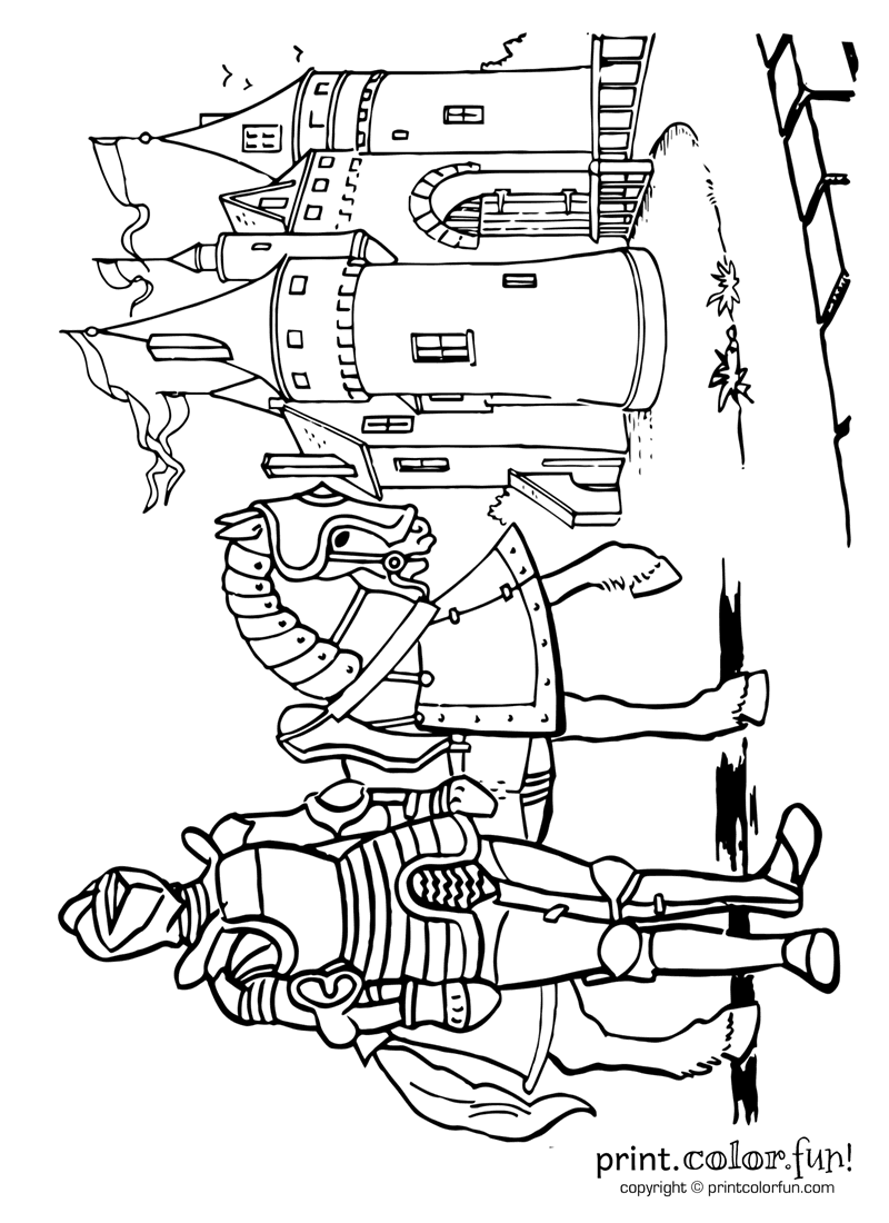 Knight And Castle Coloring Page Print Color Fun