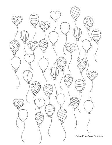 Lots of party balloons