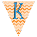orange zig-zag party decoration flags with blue letters 11