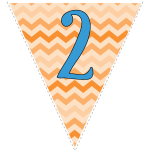 orange zig-zag party decoration flags with blue letters 128