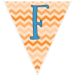 orange zig-zag party decoration flags with blue letters 6