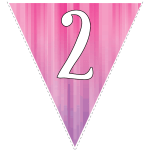 Pink-purple striped party decoration flags with white letters 128