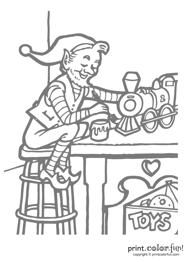 Santa\'s elf working on toys coloring page - Print. Color. Fun!