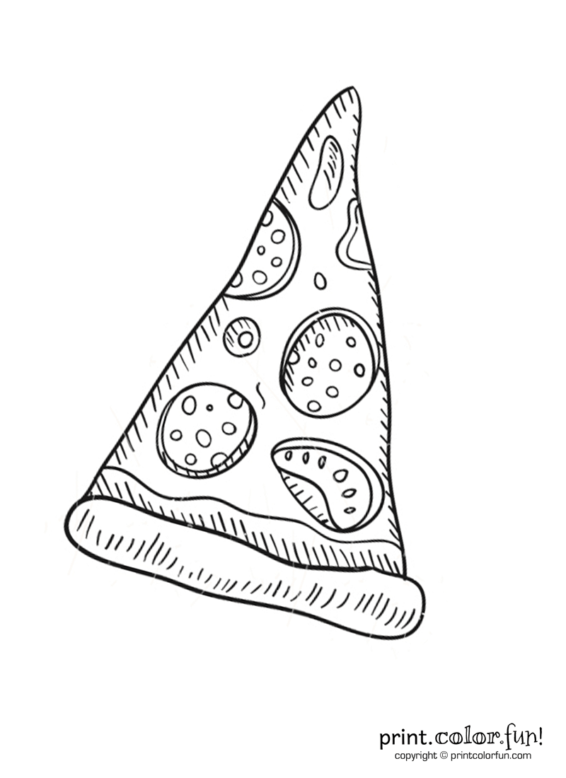 Slice of pepperoni pizza coloring page - Print. Color. Fun!