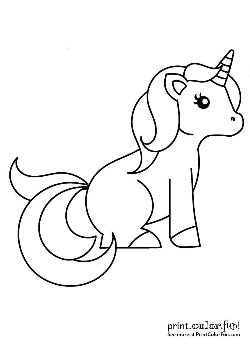 Sweet little unicorn sitting down coloring page - Print ...