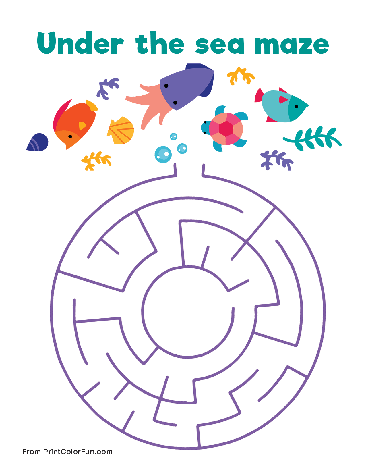 Easy Under The Sea Maze Coloring Page