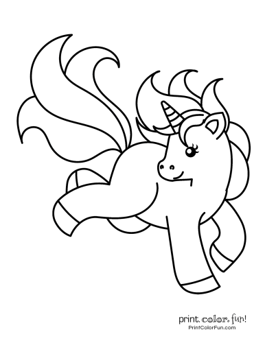 Cute My Little Unicorn: 5 different coloring pages to print coloring ...