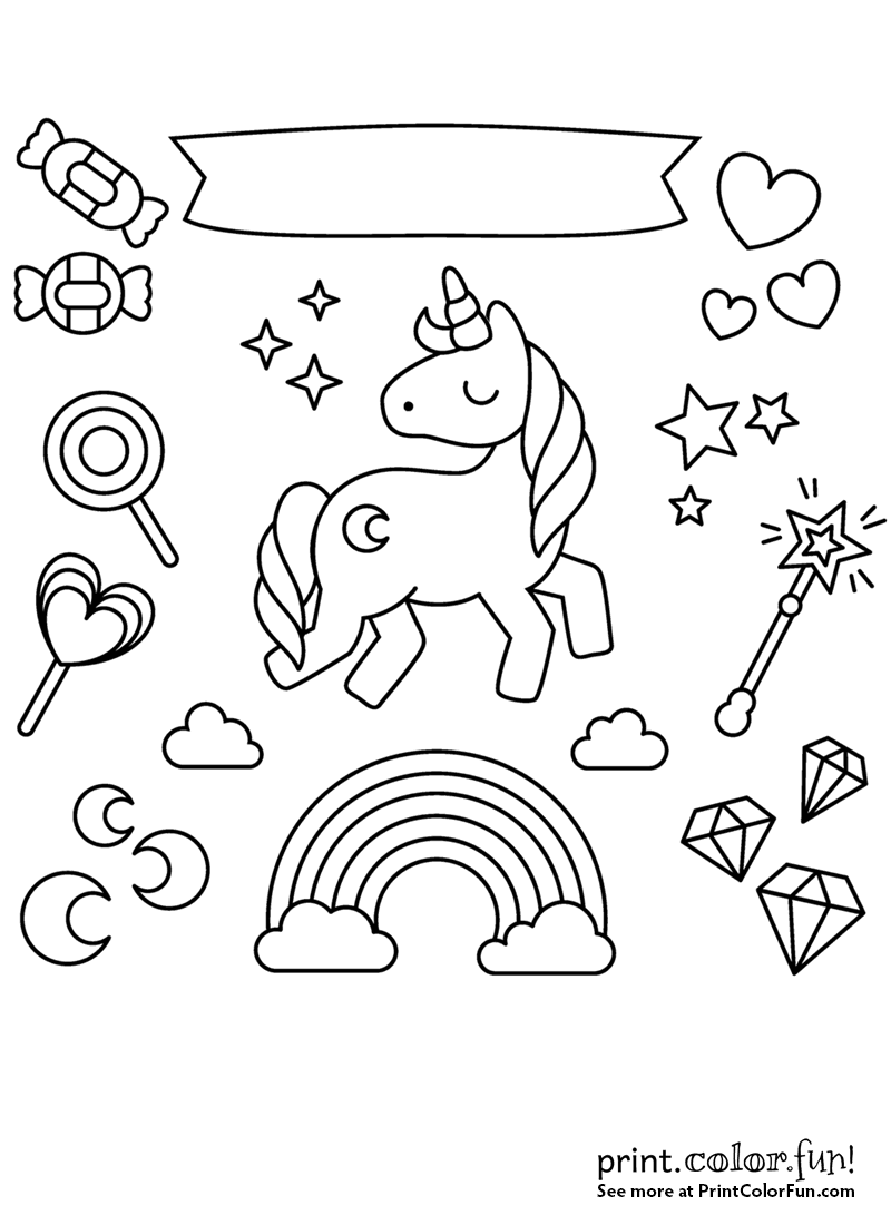 Unicorn with rainbow stars and candy animal coloring pages