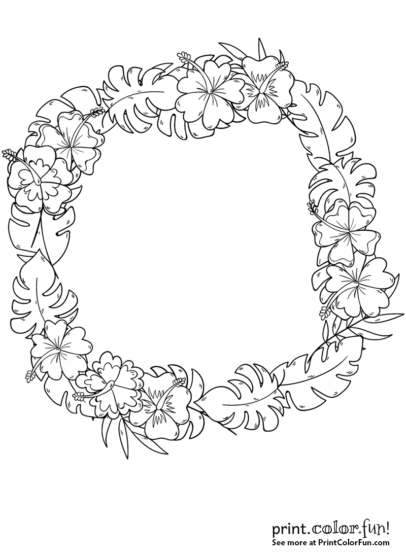 Wreath With Tropical Flowers Coloring Page Print Color