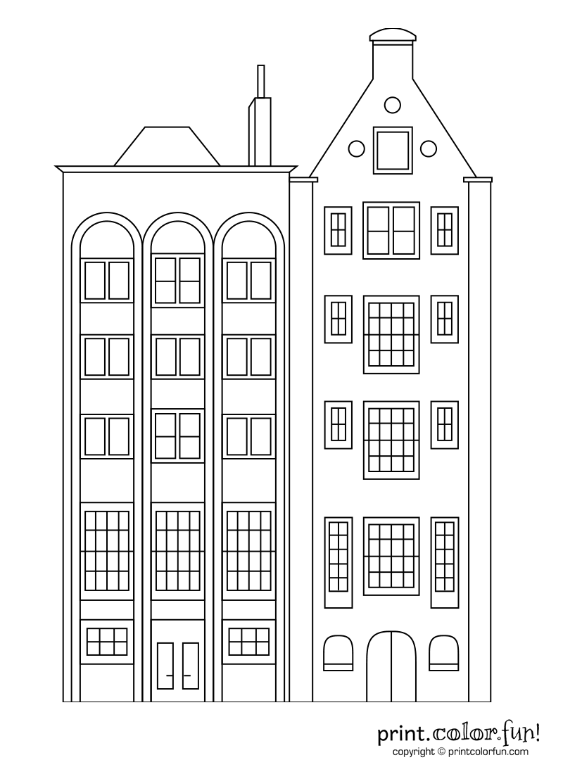 Stylish Apartment Buildings Coloring Page Print Color Fun