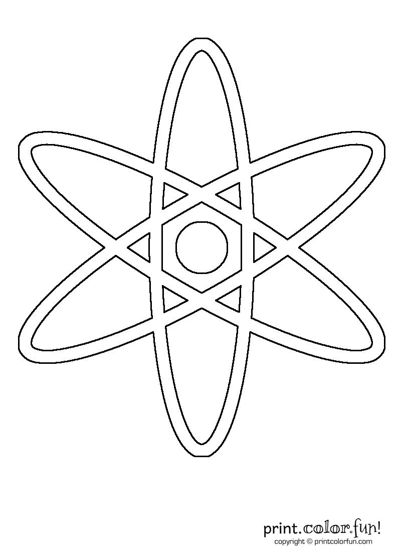 Atom Coloring Page - Worksheet & Coloring Pages