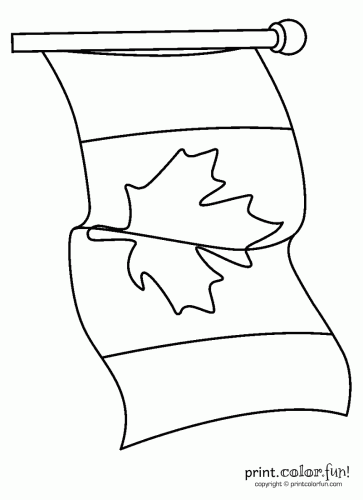 canadian flag waving coloring page print color fun