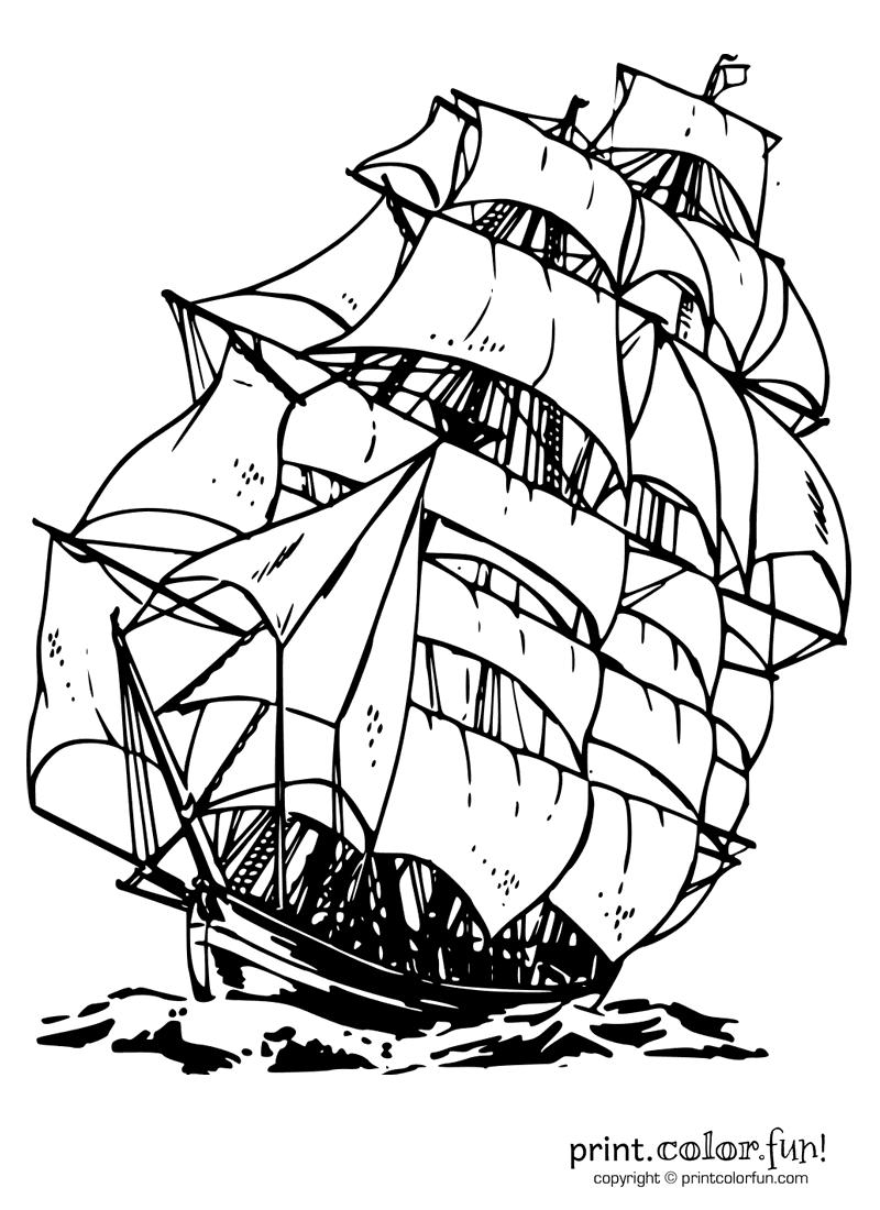 Clipper Ship Coloring Page Print Color Fun