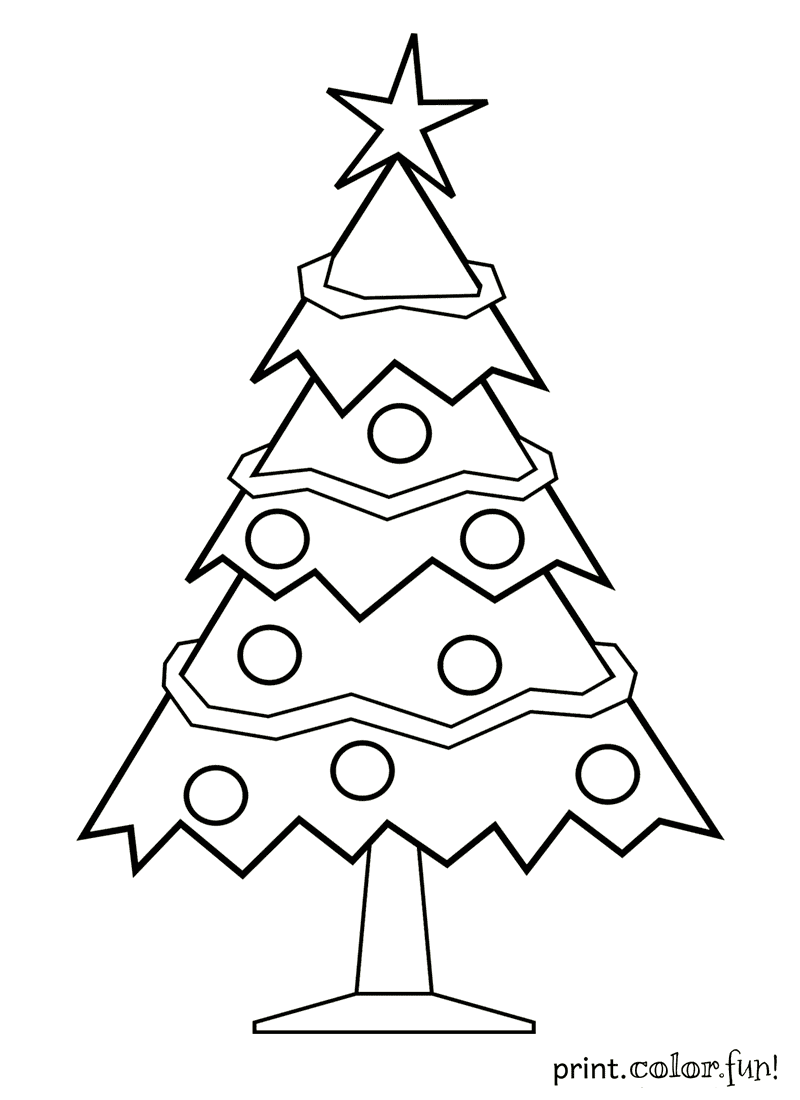 decorated christmas tree coloring page print color fun
