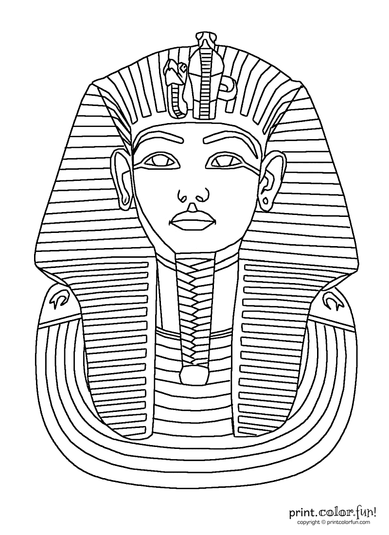King Tut Mask Coloring Page Print Color Fun