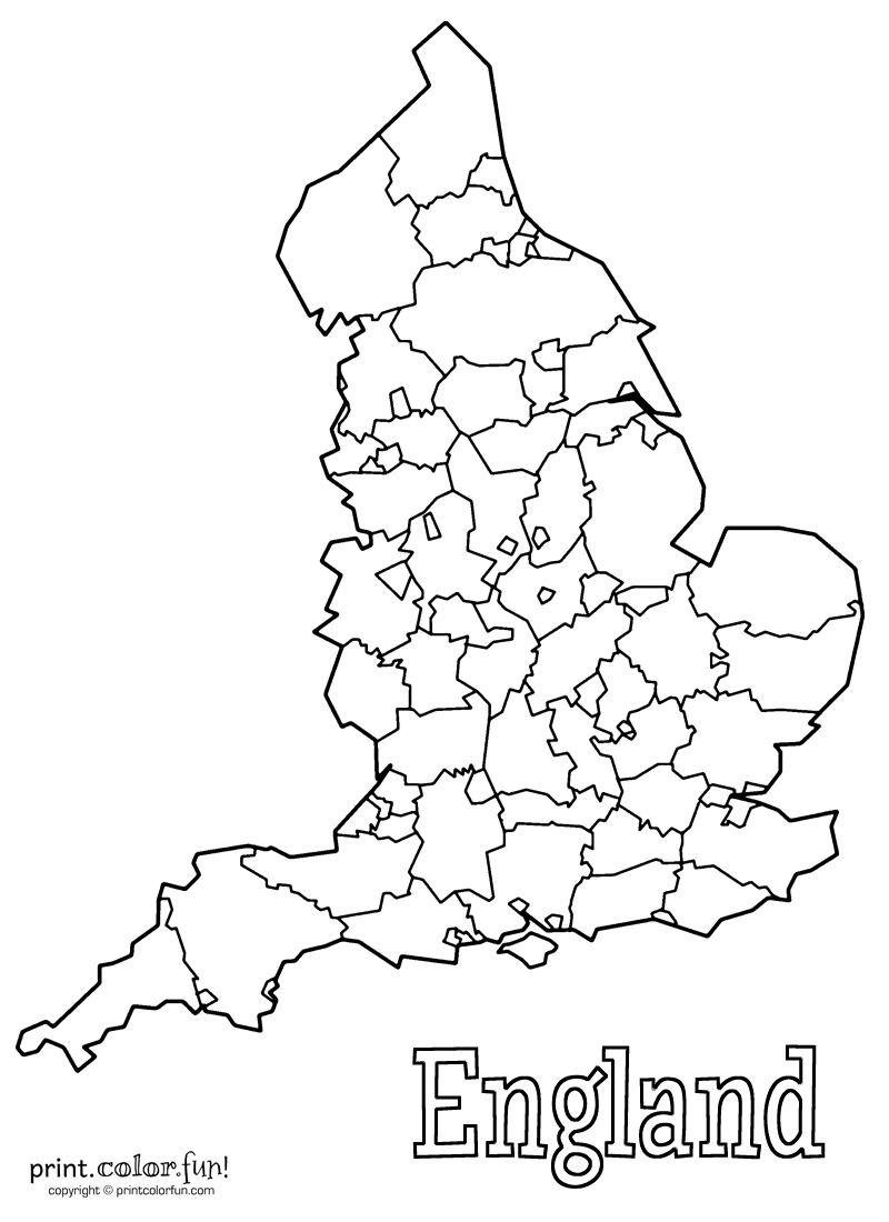 Blank Map Of England Coloring Page Print Color Fun