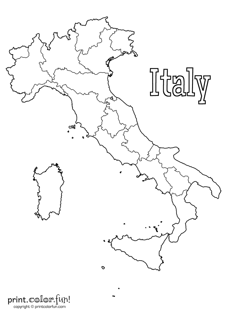 Free Printable Map Of Italy.Blank Map Of Italy Coloring Page Print Color Fun
